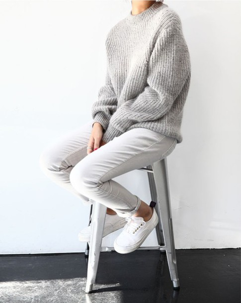 sweater grey oversized oversized sweater shoes knitwear knitted sweater grey grey sweater nude