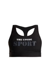 bra,sports bra,print,black,underwear