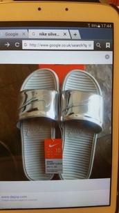 shoes,nike shoes,silver,metallic