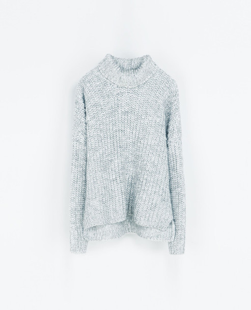 Sweater: light grey, knitted sweater, turtleneck, oversized ...