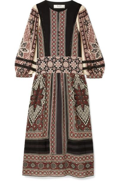 SEA - Ezri Crochet-trimmed Printed Crepe De Chine Dress - Burgundy