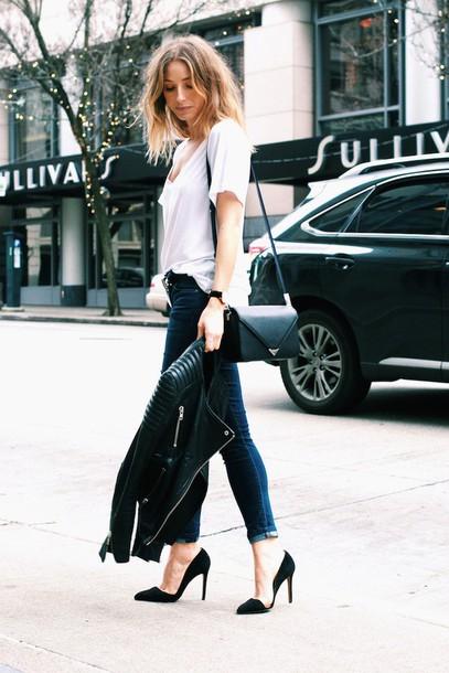the august diaries blogger t-shirt jacket belt jeans shoes bag