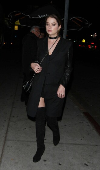 coat black dress all black everything boots ashley benson choker necklace fall outfits shoes jewels jewelry black choker necklace celebrity style celebrity celebstyle for less