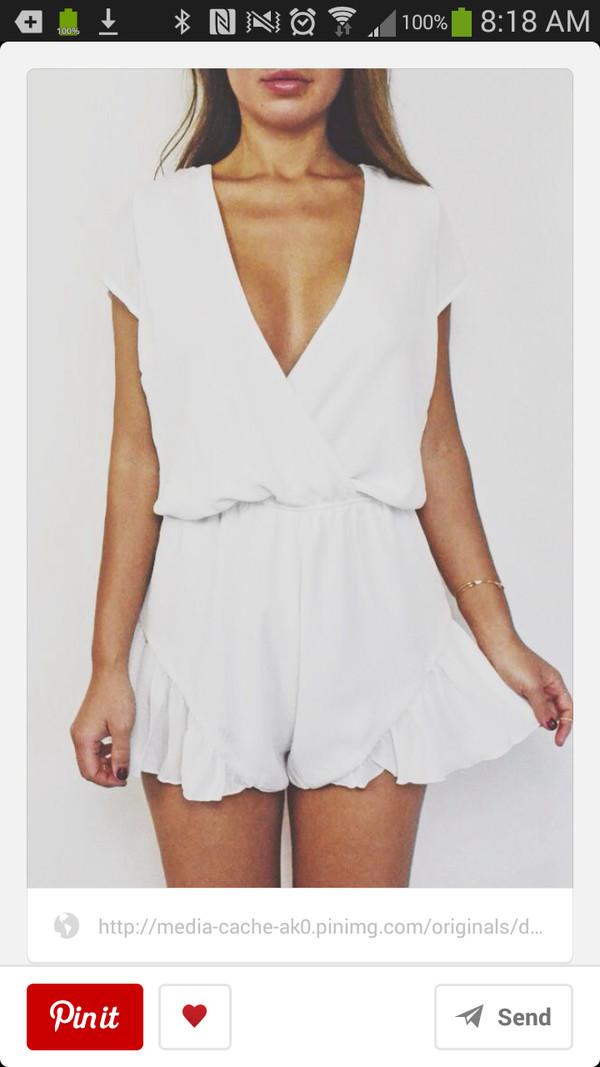 dress cute white casual low cut romper loose classy free