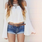 blouse,dress,white,opened shoulders,pretty,white blouse,over shoulder,chic,white top,bohemian,chicwish,off the shoulder,boho,hippie,crop tops,long sleeves,white shirt,cold shoulder blouse,boho blouse,boho shirt,summer shirt,shorts,hippie chic,hipster,summer