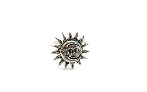 Silver sun moon ring