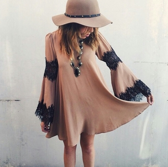 dress tunic dress tshirt dress flowy lace black lace fedora statement necklace beige coachella oversized instagram pretty boho boho chic indie indie boho indie dress indiestyle indie outfit indie style 'boho boho hippie dress fashion hippie gypsy hippie chic style cute girly stylish trendy summer cool girl streetstyle streetwear blogger indian beautiful date outfit fashionista chill rad causal casual clothes on point clothing gorgeous women hat 2015 fashion trends