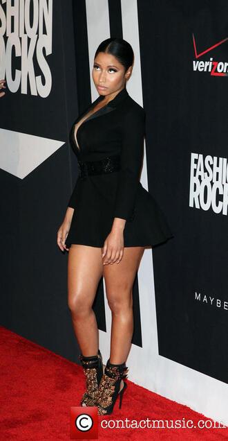 little black dress yves saint laurent nicki minaj peep toe boots