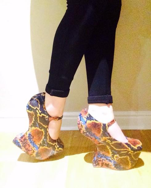 shoes high heels snake jeffrey campbell orange blue snake skin nightwalks python