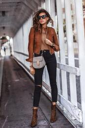 fashionedchic,blogger,shoes,jacket,t-shirt,jeans,ankle boots,animal print,leopard boots,rust jacket,fall outfits