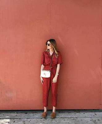 jumpsuit tumblr red jumpsuits shoes loafers bag crossbody bag white bag sunglasses