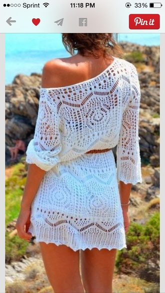 dress white lace beach sleeves one shoulder mini dress