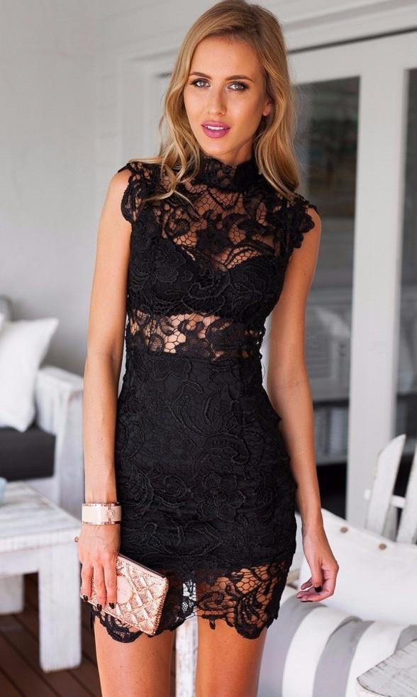 High Neck Lace Dress Black