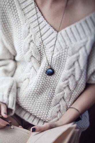 sweater light beige winter sweater braided light brown beige beige sweater knitwear knitted sweater jewels