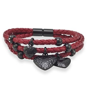 Amazon.com: mma triple strand red leather bracelet with heart drops: jewelry