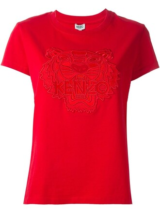 t-shirt shirt embroidered tiger red top