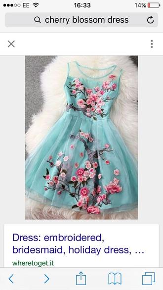 dress cherry blossom blue pink