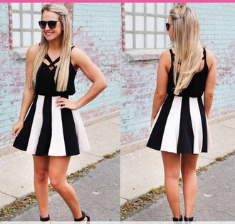 dress black black dress black and white dress black and white strips and floral style fashion clothes girly cute summer rosegal-dec