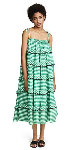 Innika Choo dress gingham green