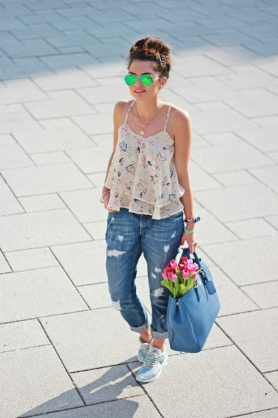 fashionhippieloves shirt jeans bag sunglasses shoes belt jewels