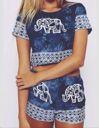 shirt blue shirt elephant shirt elephant shorts shorts