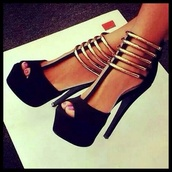 high heels,sexy shoes,sandal heels,black and gold,black and gold heels,heels,high,classy,black,black heels,shoes,black gladiator high heels,special occasion,sexy,sexy  shoes,peep toe pumps,platform pumps