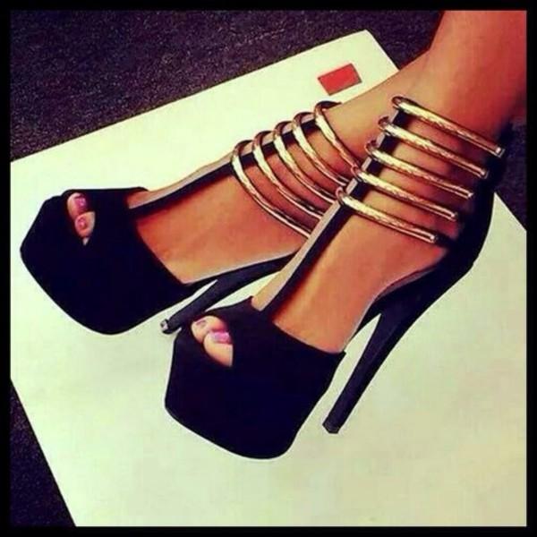 2ef80359 high heels sexy shoes sandal heels black and gold black and gold heels heels  black and