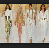 blouse,gold and white,gold jewelry,jumpsuit,sequins,white pants,gold accessories,gold pants,gold hair jewelry,chain,necklace,white dress,gold dress,gold rings and watch,white halter top,halter top,top,belt,shoes,jewels,jacket,pants,shirt