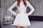 dress,white,lace,layered,sweet
