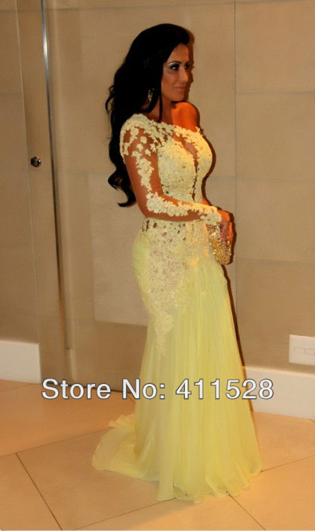 vestido de baile Brazil Russia Fashion  Yellow Long sleeve Lace Open back prom dress-in Prom Dresses from Apparel & Accessories on Aliexpress.com