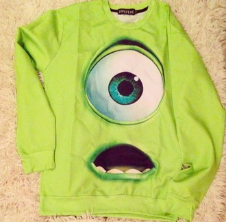 sweater winter sweater green disney sweater disney monsters inc bob funny sweater funny cute winter outfits pajamas pajama top earphones