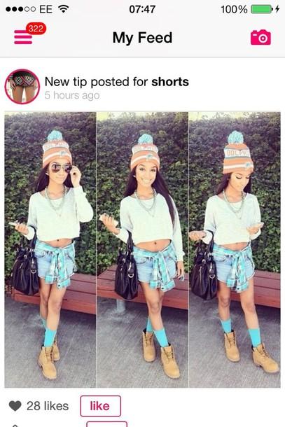 hat t-shirt shorts shoes