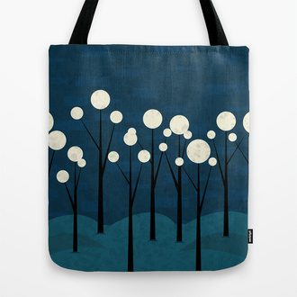 bag tote bag society6 fantasty moon full moon forest