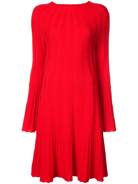 oscar de la renta dress pleated women wool red