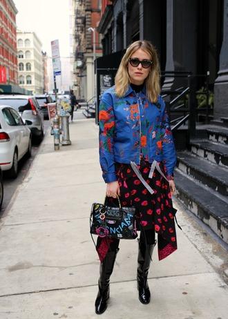skirt floral boots bag jacket floral print jacket sunglasses