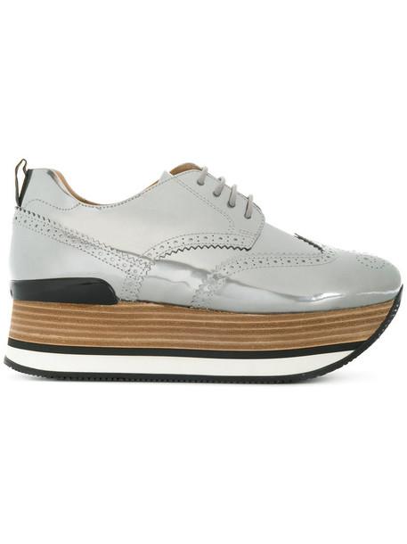Hogan women leather grey metallic shoes