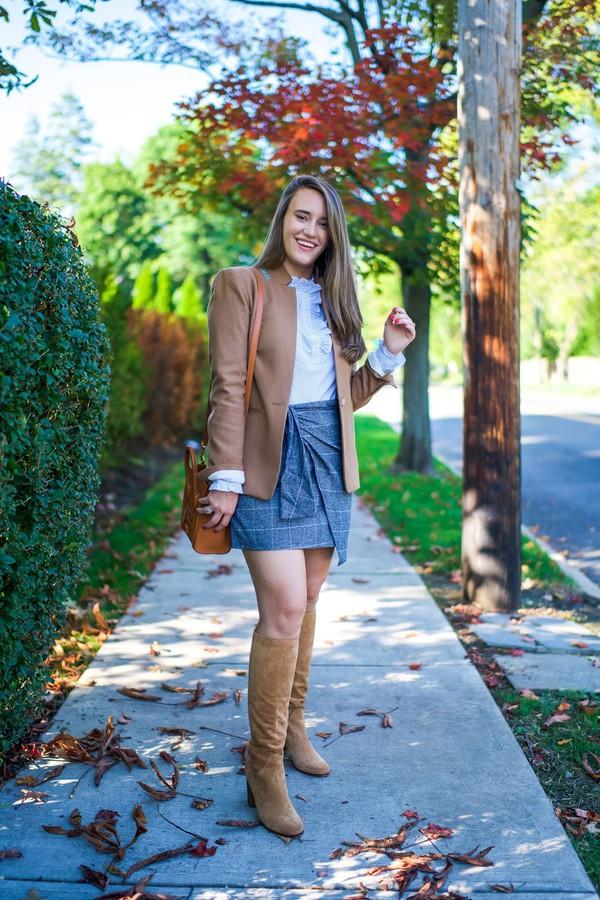 d9845900b covering bases curvy blogger jacket shirt skirt shoes jewels blazer knee  high boots shoulder bag mini.