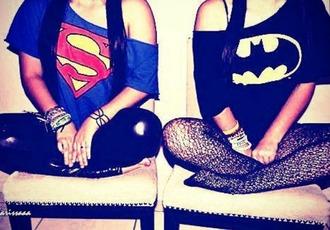 t-shirt superman batman top logo superheroes