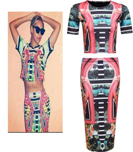 aztec aztec print skirt beyonce dress hiwaist floral floral top aztec top