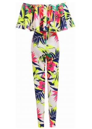 Glam Boutique Neon Floral Frill Off The Shoulder Jumpsuit - Playsuits & Jumpsuits from Glam Boutique UK