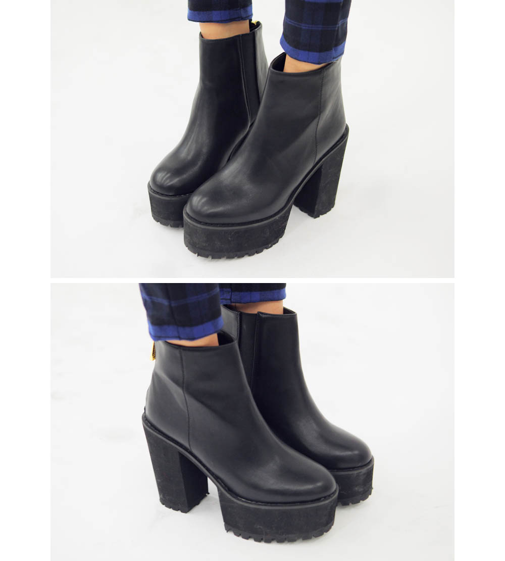Back-Zip Plaform Ankle Booties
