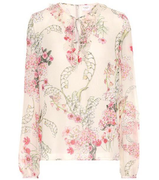 GIAMBATTISTA VALLI blouse floral silk beige top
