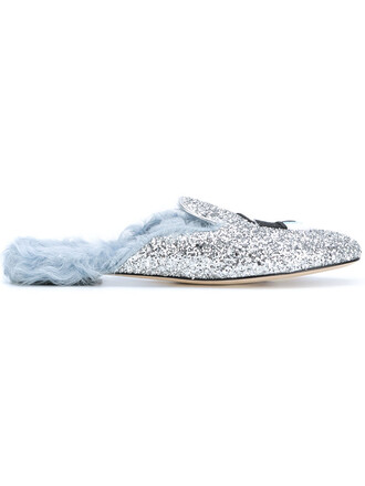 fur women slippers leather grey metallic shoes