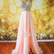 Pink v neckline chiffon long prom dresses, evening dress - 24prom