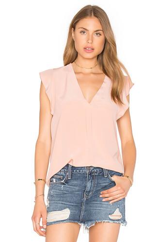 blouse silk pink top