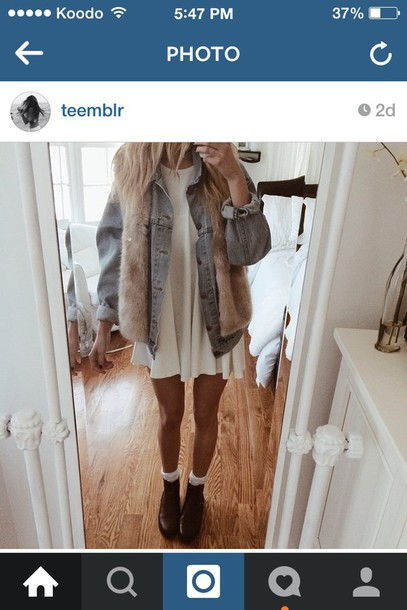 dress white summer tan cute white dress coat denim jacket denim