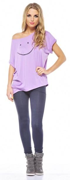 shirt lilac cute t-shirt dress t-shirt style cute dress offshoulder pastel top