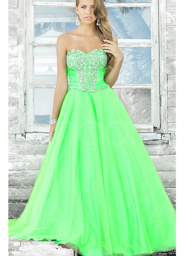 dress hunter green tulle dress for peom and homecoming and graduation .mini train and have beadings
