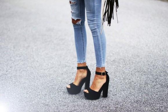 skirt shoes black and white bikini high heels jeans