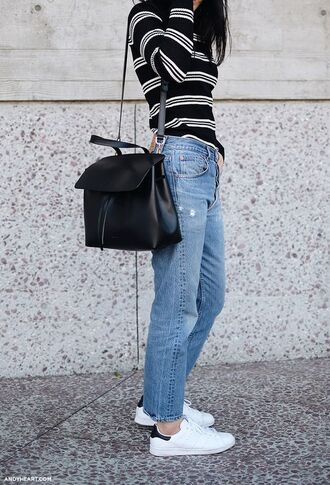sweater stripes black bag shoulder bag black leather bag straight jeans casual adidas shoes striped sweater french girl style back to school college black shoulder bag